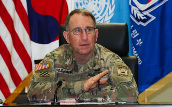 로버트 에이브럼스 한·미연합사령관이 20일 기자간담회를 하고 있다. [사진 한·미연합사]