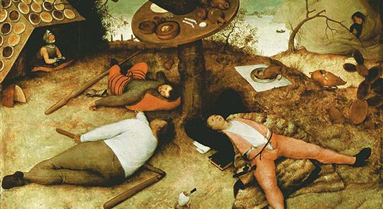 피터르 브뤼헐(1526~1569년), 『식도락의 마을』(뮌헨, 알테 피나코텍 미술관). 그림 속 마을을 보면 먹을 것 천지다. 탐식의 쾌락에 빠진 사람들은 게을러 보인다.