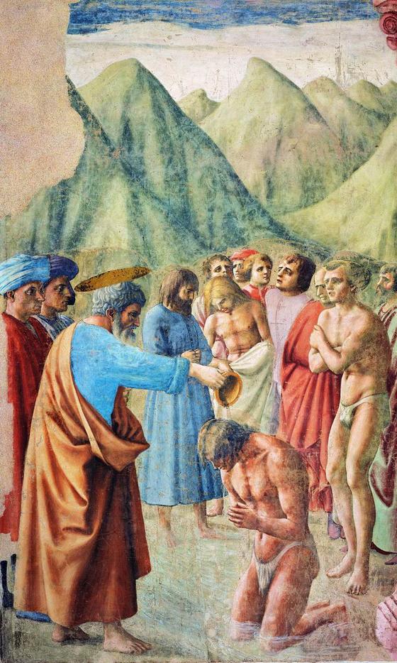 15세기 초기 르네상스회 화의 선구자로 평가받는 마사초의 '수련자 세례'. [피렌체 산타 마리아 델 카르미네 성당의 브란카치 예배당]