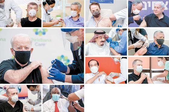 당선인 신분으로 접종 과정을 생중계로 공개한 조 바이든(79) 미국 대통령(큰 사진)을 비롯해 각국 정상들이 앞장서 신종 코로나바이러스 감염증(코로나19) 백신 접종에 나서고 있다. 첫째 줄 왼쪽부터 안드레이 바비시(67) 체코 총리, 리셴룽(69) 싱가포르 총리, 키리아코스 미초타키스(53) 그리스 총리, 베냐민 네타냐후(72) 이스라엘 총리, 둘째 줄 왼쪽부터 살만 빈 압둘아지즈(86) 사우디아라비아 국왕, 압둘라 2세(59) 요르단 국왕, 셋째 줄 왼쪽부터 조코 위도도(60) 인도네시아 대통령, 클라우스 요하니스(62) 루마니아 대통령, 넷째 줄 왼쪽부터 레제프 타이이프 에르도안(67) 터키 대통령, 시릴 라마포사(69) 남아공 대통령. [AP·AFP·로이터=뉴시스·연합뉴스]