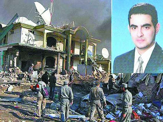2009년 12월 아프가니스탄 동부 호스트 주에서 미국 중앙정보국(CIA)이 드론 암살을 위해 운영하던 채프먼 기지가 알카에다에 대한 정보원으로 활용하던 삼중 스파이의 자폭 공격을 받은 현장. 오른쪽 위는 후맘 칼릴 아부무달 알발라위. [사진 미군 홈페이지]