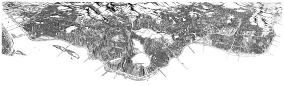 가로 250.5cm 세로 73.5cm의 펜화 '강북전도'는 무려 4년 6개월에 걸쳐 완성됐다. 안충기 작가는 실수로 먹물을 떨어뜨렸다. 어떻게 처리했을까. 확대해서 보면 안다. [사진=동아시아]