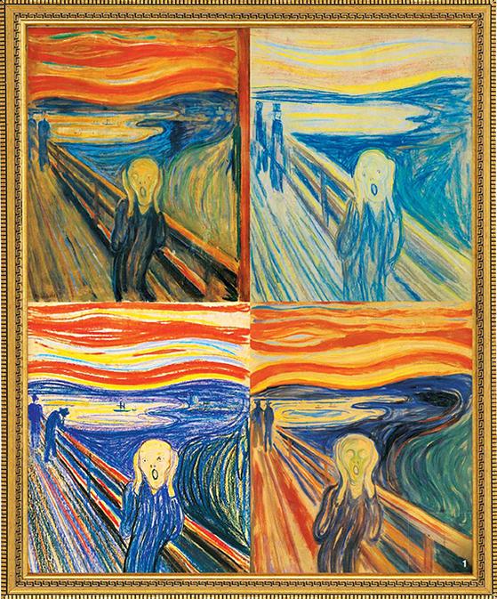 1 뭉크의 유명한 회화 '비명'의 4가지 버전. 왼쪽 위부터 시계방향으로 1893년 버전, 1893년 크레용 버전, 1910년 템페라 버전, 1895년 파스텔 버전(2012년 경매 신기록). [사진 각 소장 미술관]