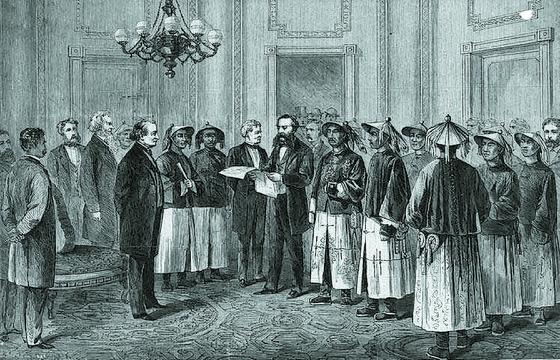 미국 17대 대통령 앤드루 존슨에게 중국 황제의 국서를 전달하는 벌링게임. 1868년 6월 6일, 백악관. [사진 김명호]