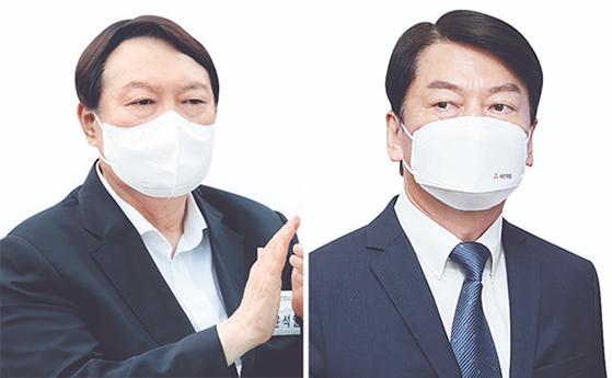 윤석열(左), 안철수(右)
