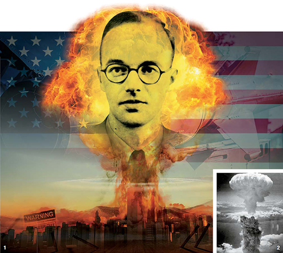 1 제2차 세계대전 중 미국ㆍ영국ㆍ캐나다의 핵무기 개발 프로그램인 맨해튼 계획에 이론물리학자로 참가했다가 정보를 빼돌려 소련에 넘긴 클라우스 푹스와 핵 폭발 장면. 2 미국이 1945년 8월 9일 나가사키에 투하한 원폭의 폭발 장면. [사진 미국 원자 유산 재단]