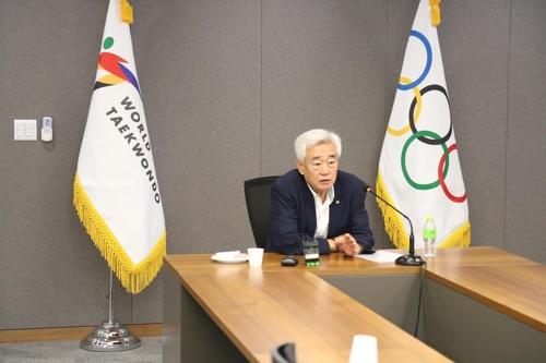 2020년 도쿄올림픽 준비 상황 등을 설명하는 조정원 세계태권도연맹 총재.
