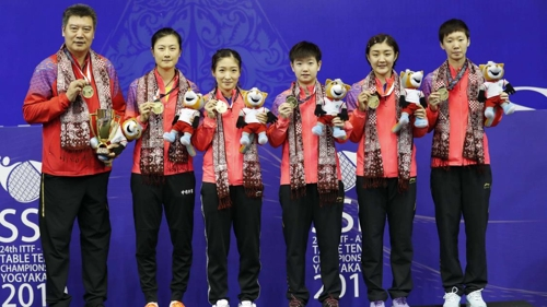 탁구 아시아선수권 여자단체전 우승을 차지한 중국 여자대표팀