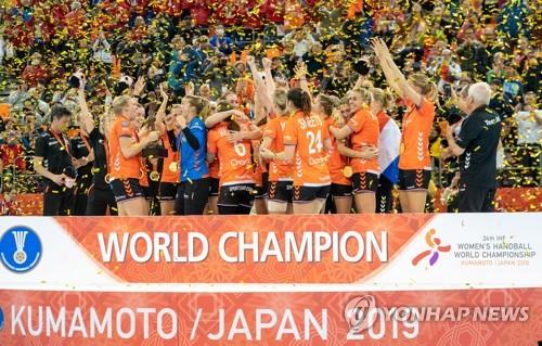 2019년 12월 일본에서 열린 세계여자핸드볼 선수권에서 우승한 네덜란드 대표팀.