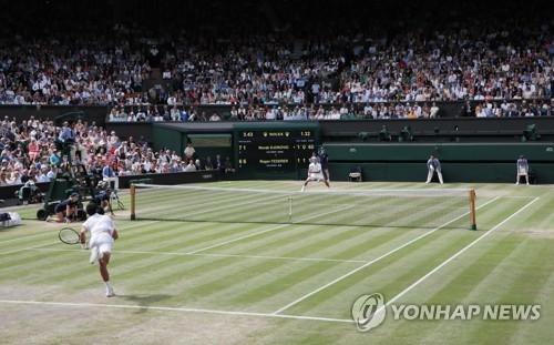 2019년 윔블던 테니스 남자 단식 결승전 모습.