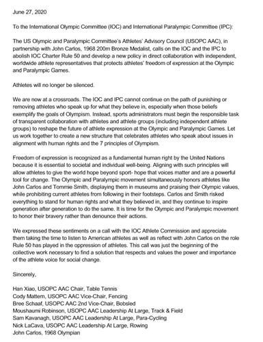 미국올림픽·패럴림픽 선수자문위원회 성명