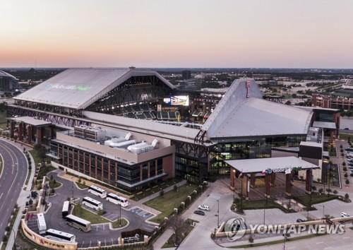 텍사스 레인저스의 홈구장 글로브 라이프 필드를 공중에서 찍은 사진