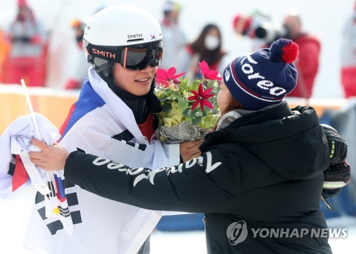 2018년 평창 동계올림픽 당시 이상호(왼쪽)와 정해림.