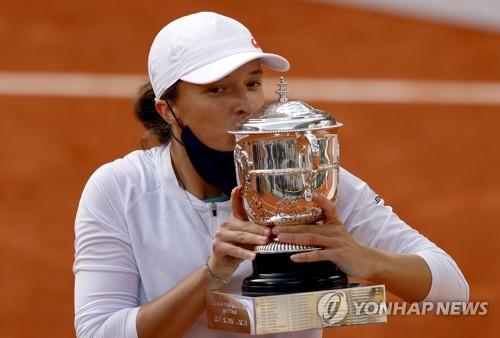 2020년 프랑스오픈 테니스 여자 단식 우승자 시비옹테크.